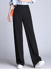 Casual-Black-Pocket-Wide-Leg-Pants