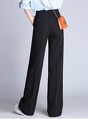 Casual Black Pocket Wide-Leg Pants