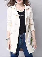 Lapel  Decorative Button  Plain  Long Sleeve Trench Coats