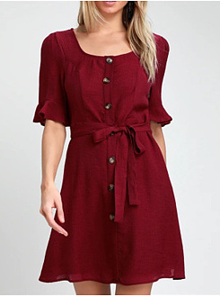 Casual Square Neck  Belt  Plain Shift Dress