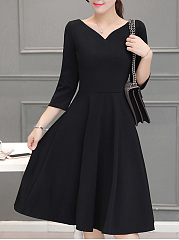 V-Neck Solid Skater Dress In Black