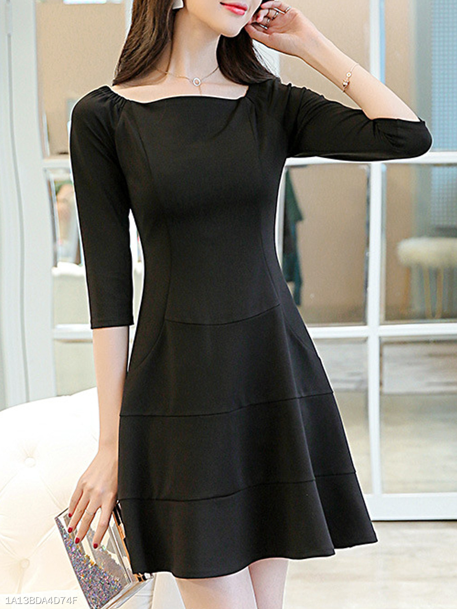 Boat Neck  Plain Skater Dress