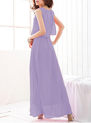 Summer Round Neck Plain Chiffon Maxi Dress
