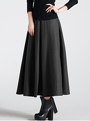 Plain-Woolen-Flared-Maxi-Skirt