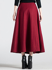 Plain Woolen Flared Maxi Skirt