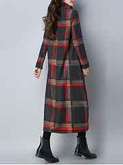 Turtleneck Plaid Pocket Loose Woolen Maxi Dress