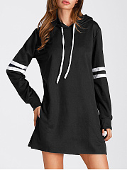 Hooded  Color Block Casual Shift Dress