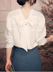 Chiffon  V-Neck  Bowknot  Plain  Long Sleeve Blouse