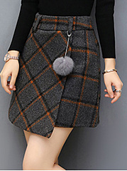 Plaid-Woolen-A-Line-Mini-Skirt-With-Fur-Ball