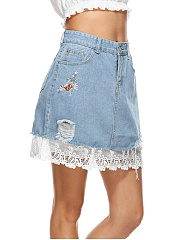 Distressed Embroidery Patchwork Mini Skirt