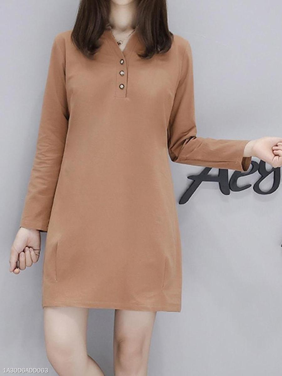 3adf438ff61 Split Neck Plain Linen Basic Shift Dress - fashionMia.com