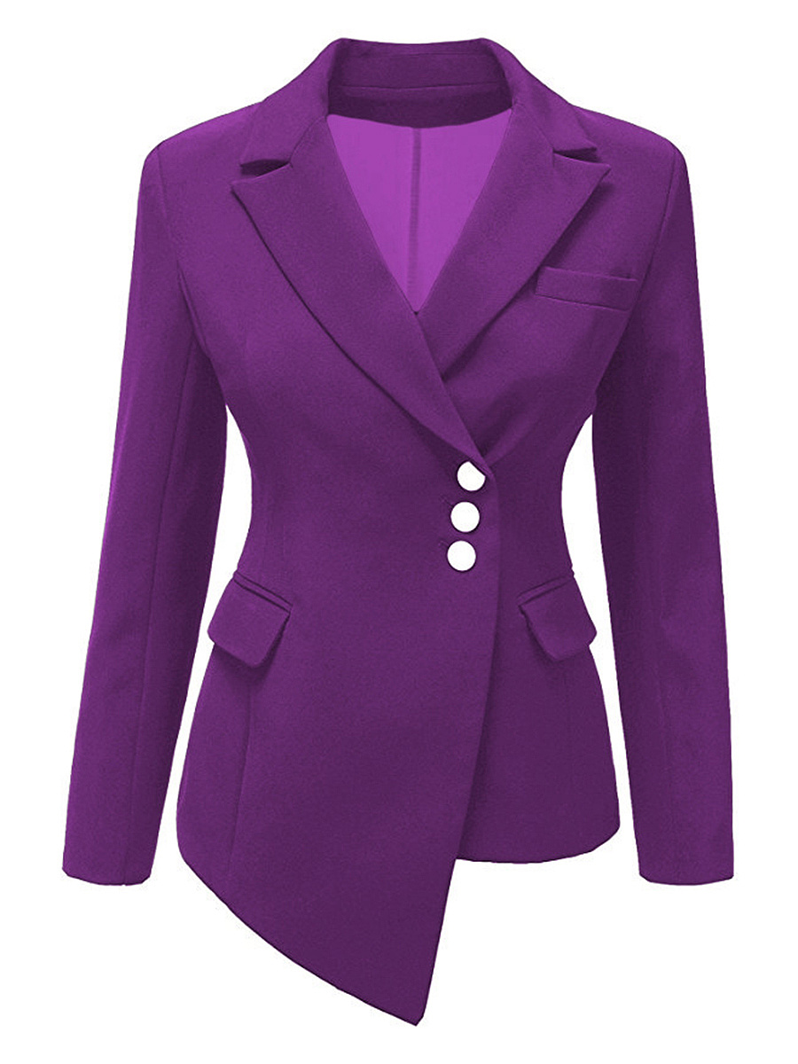 Notch Lapel Asymmetric Hem Plain Blazer