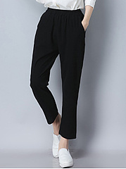 Plain Elastic Waist Slim-Leg Casual Pants
