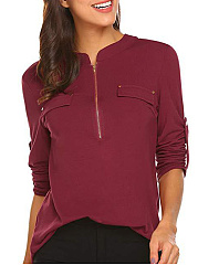 V Neck  Loose Fitting Zipper  Plain Blouses