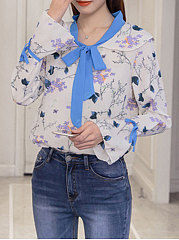 Autumn Spring  Chiffon  Women  Tie Collar  Floral Printed  Bell Sleeve  Long Sleeve Blouses