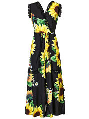 V-Neck-Sunflower-Decorative-Lace-Wide-Leg-Jumpsuit