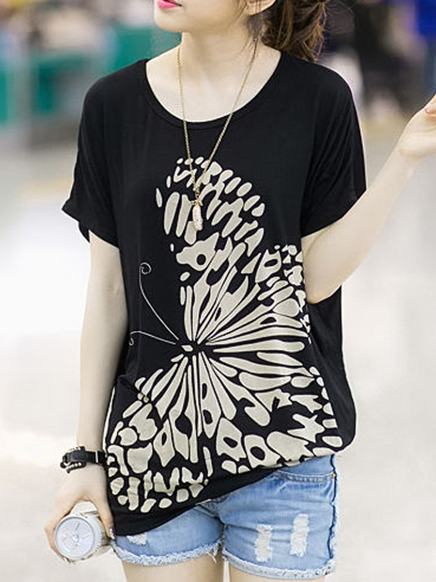 Loose Round Neck Butterfly Printed Short Sleeve T-Shirt