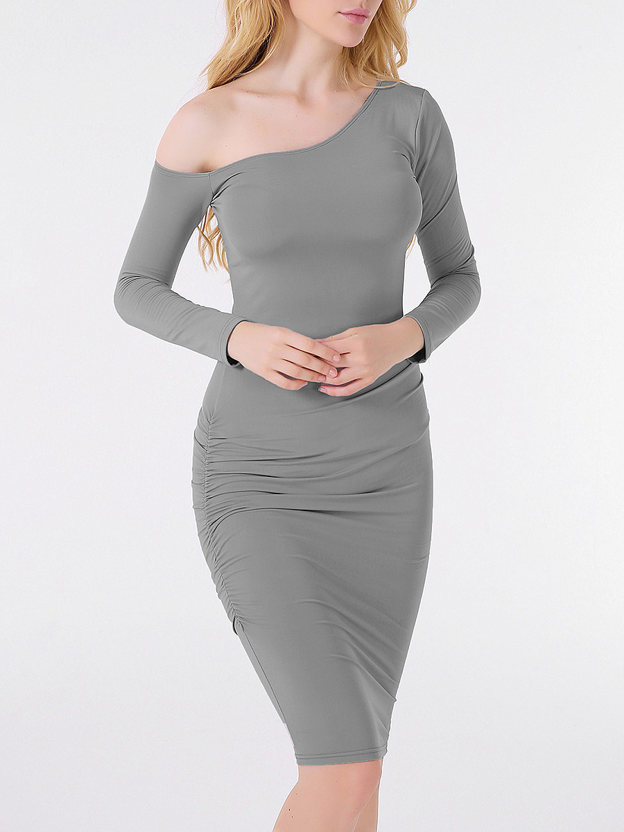One Shoulder Plain Long Sleeve Bodycon Dress