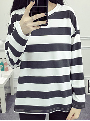 Autumn Spring Winter  Cotton  Women  Round Neck  Color Block Embroidery Striped Long Sleeve T-Shirts