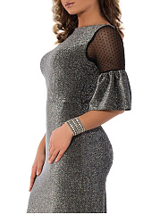 Crew Neck  Patchwork See-Through  Glitter  Plain Plus Size Bodycon Dresses