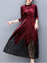 Band-Collar-Patchwork-Hollow-Out-Velvet-Pleated-Maxi-Dress