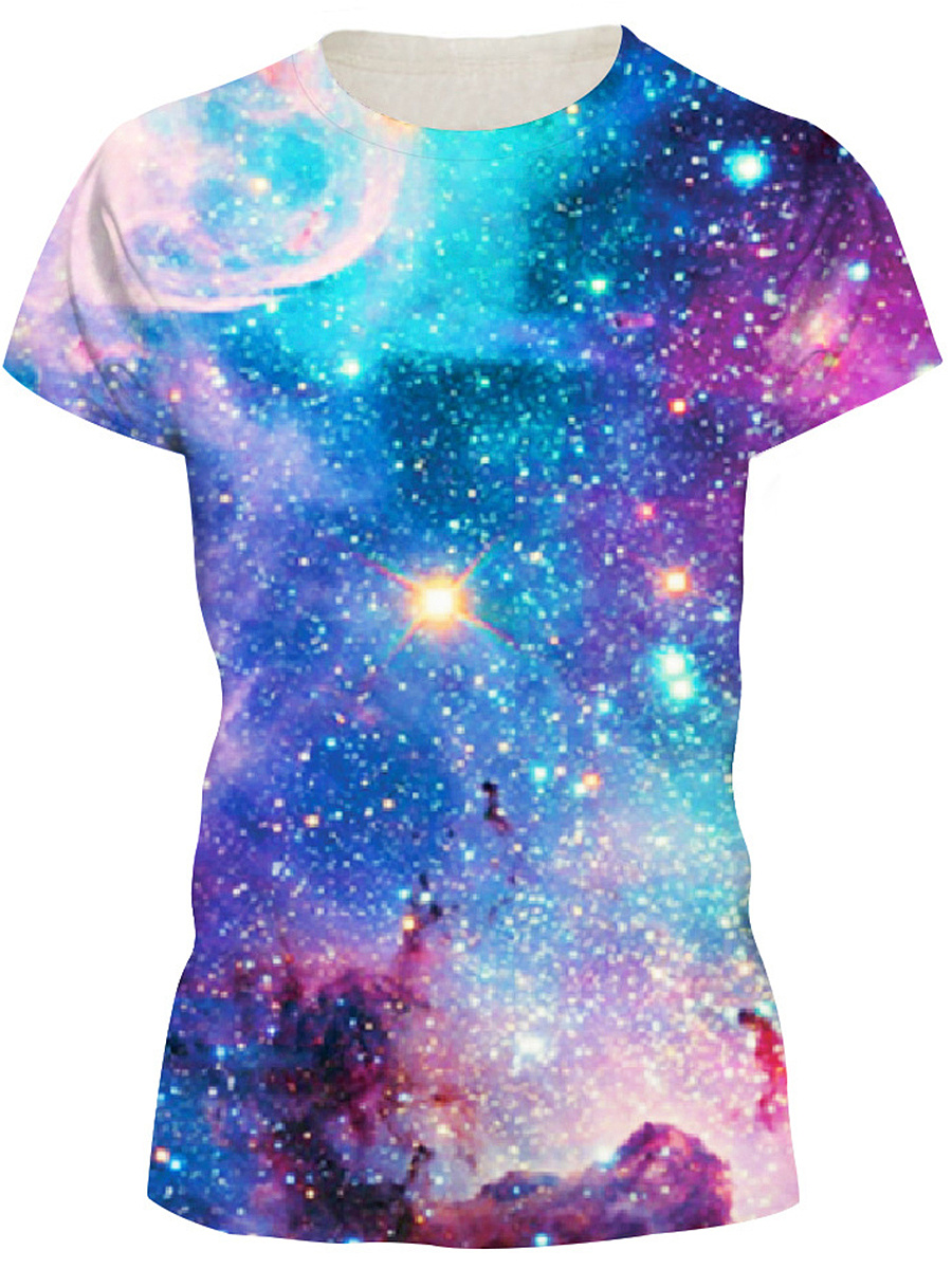 Round Neck Galaxy Printed Short Sleeve T-Shirt
