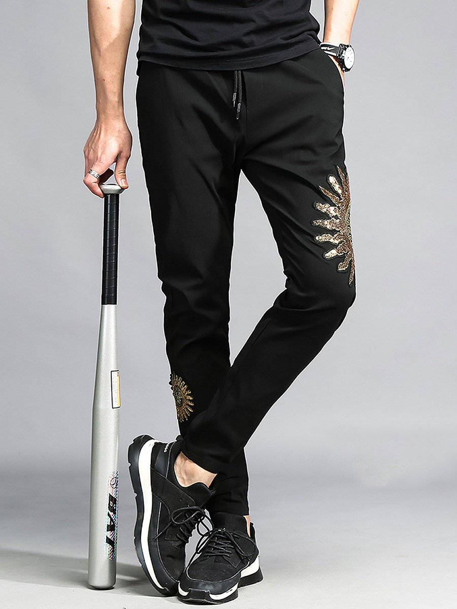 Men's Casual Embroidery Elastic Waist Slim-Leg Pants