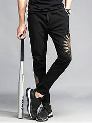 Mens-Casual-Embroidery-Elastic-Waist-Slim-Leg-Pants