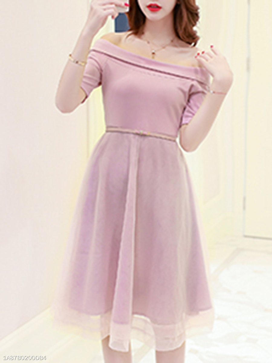 Off Shoulder  Patchwork Ruffled Hem  Belt  Plain Skater Dress