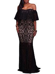 Off-Shoulder-Flounce-Lace-Hollow-Out-Evening-Dress