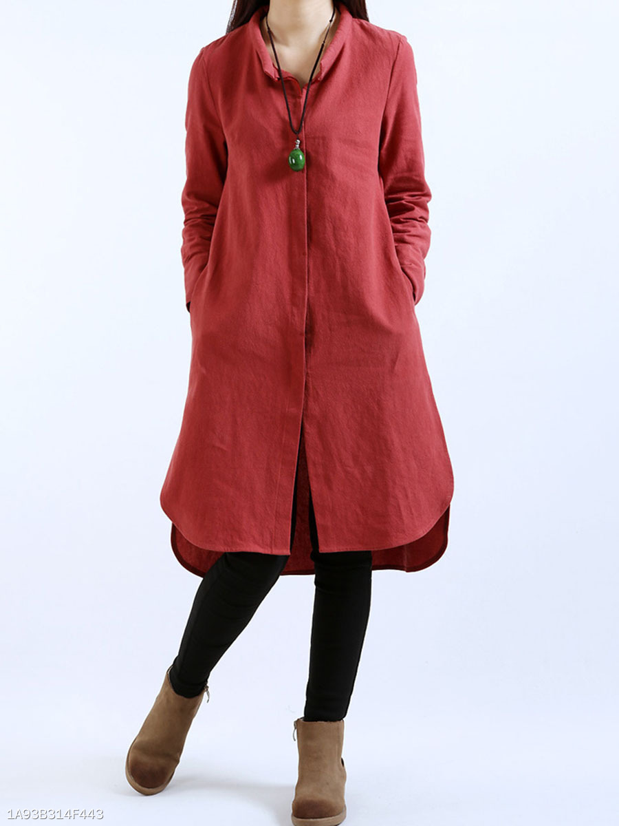 High-Low Solid Pocket Side Slit Shirt Dress