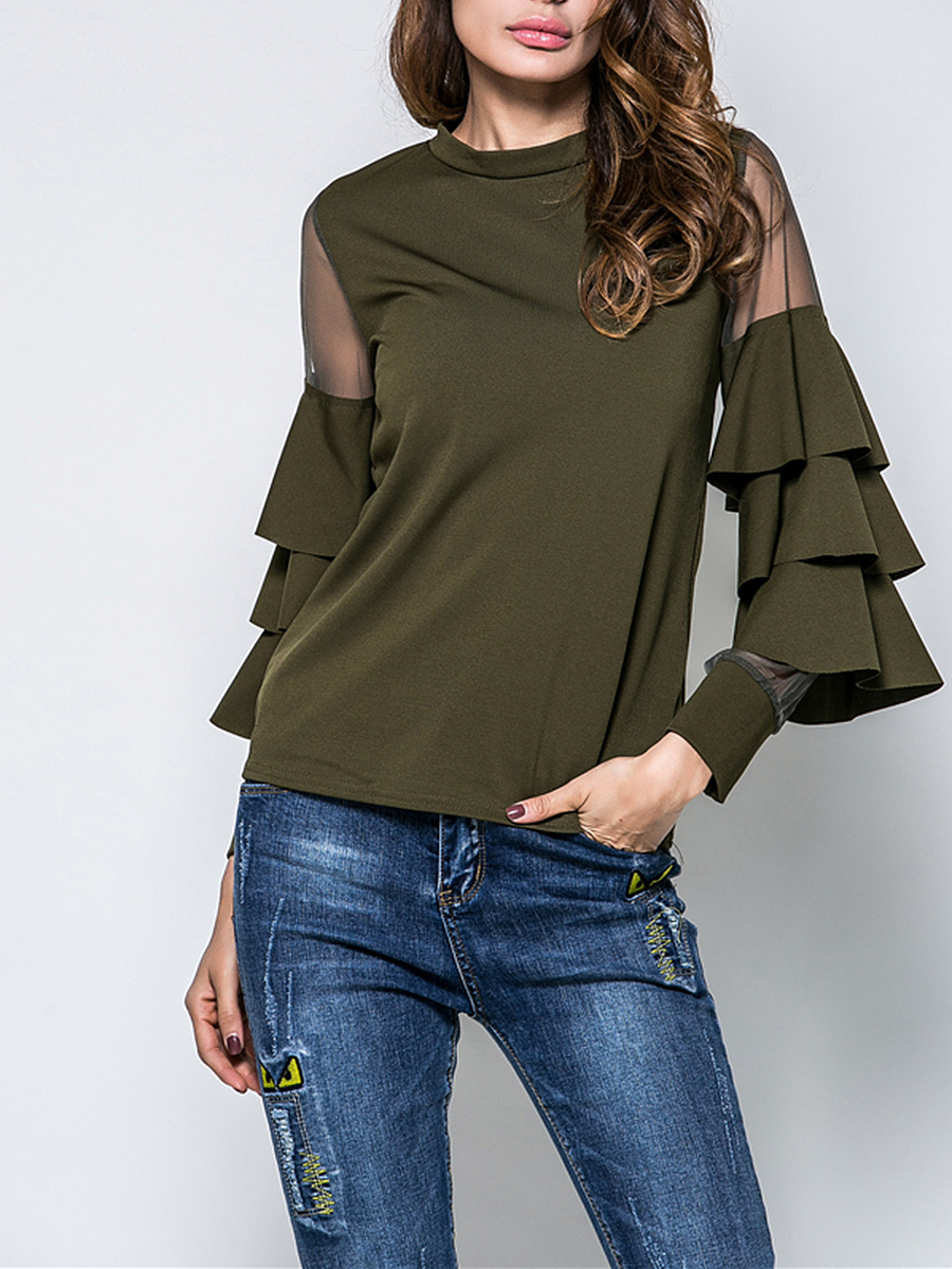 Solid Crew Neck See-Through Tiered Bell Long Sleeve T-Shirt