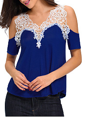 Summer  Cotton  Women  Open Shoulder  Decorative Lace  Plain Short Sleeve T-Shirts