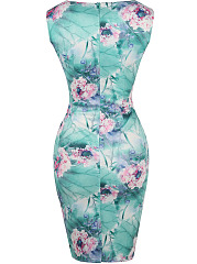 Decorative Hardware Keyhole Floral Printed Bodycon Dress