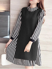 Band Collar  Side Slit  Contrast Piping  Plain Striped Skater Dress