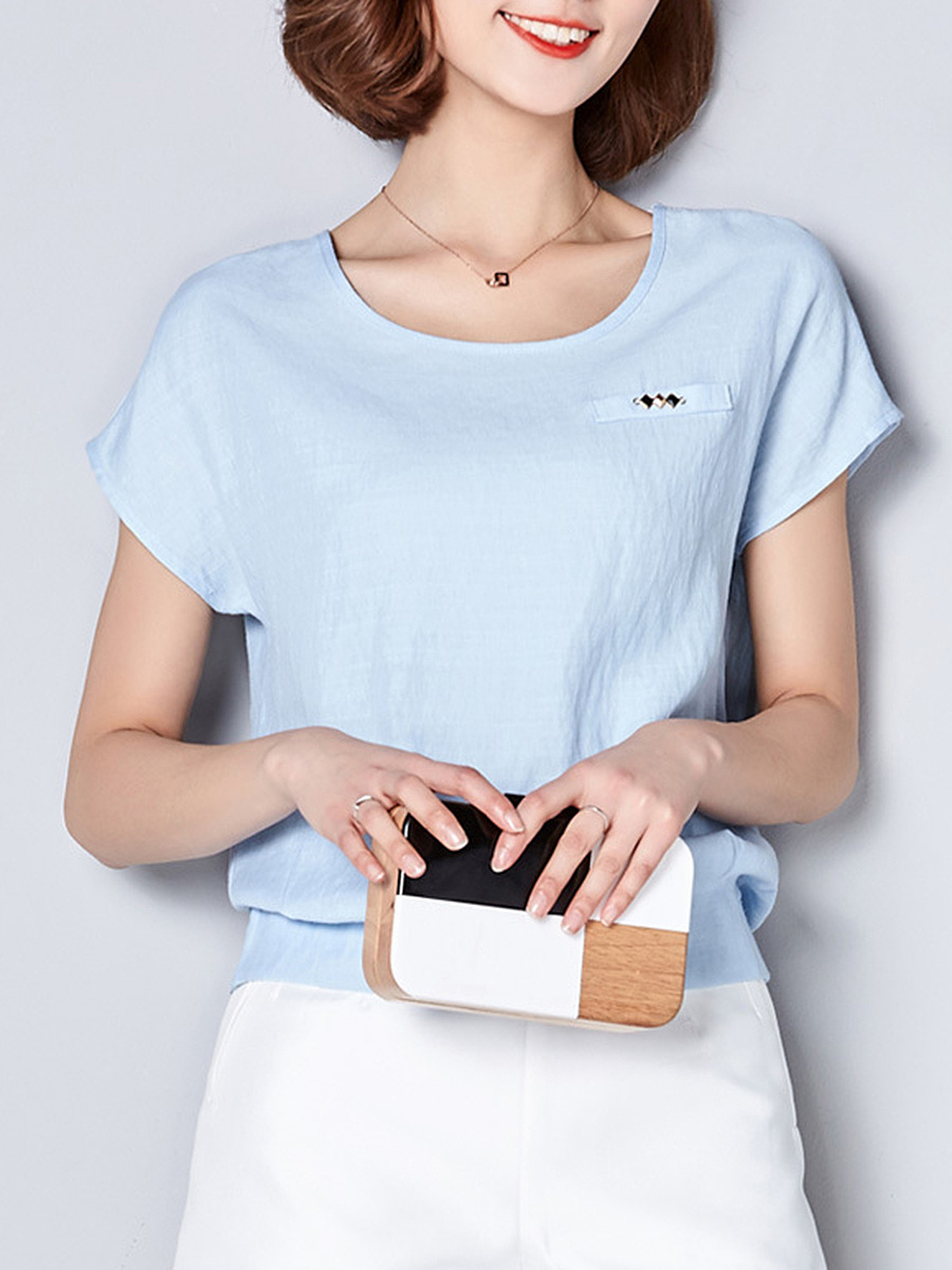 Round Neck Elastic Waist Plain Short Sleeve T-Shirt