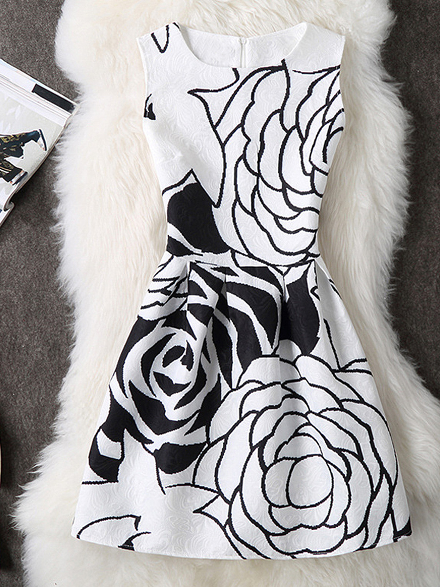 Round Neck Printed Fabulous Skater Dress