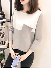 Round Neck  Patch Pocket Patchwork  Plain  Long Sleeve Pullover