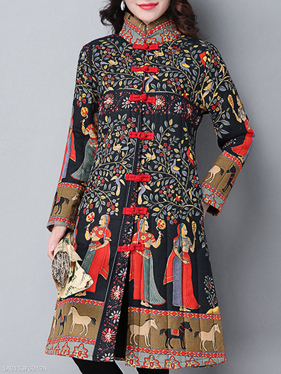 Gracila Ethnic High Neck Tribal Printed Pocket Longline Coat