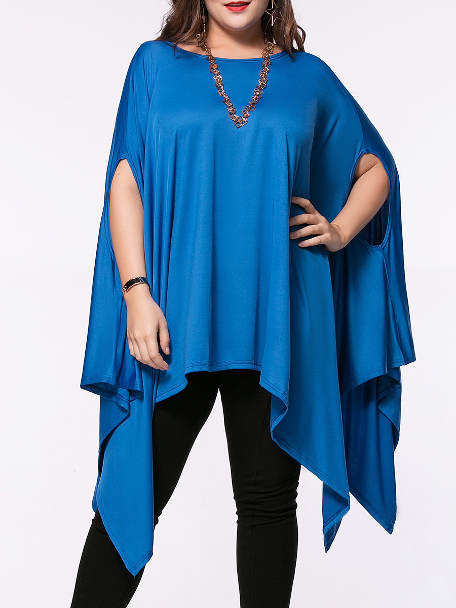 Oversized Asymmetric Hem Plain Cape Sleeve Plus Size T-Shirt