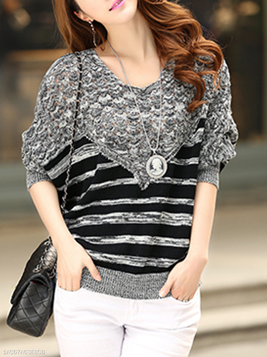 Round Neck  Striped  Batwing Sleeve  Long Sleeve Sweaters Pullover