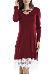 V-Neck-Decorative-Lace-Hollow-Out-Shift-Dress