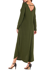 V-Neck  Backless  Plain Casual Maxi Dress