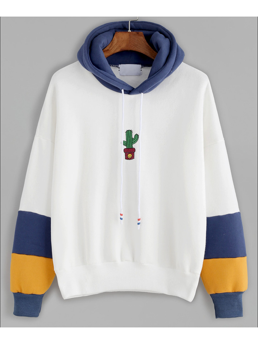 Color Block Embroidery Hoodie