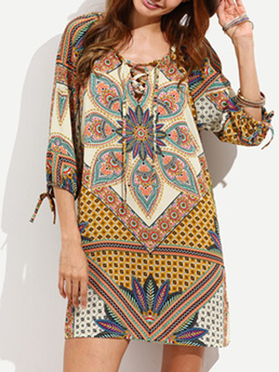 V-Neck  Drawstring Lace-Up  Printed Shift Dress