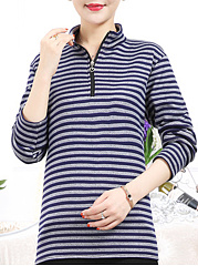 Band Collar  Stripes Long Sleeve T-Shirts