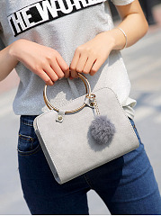 Gold Round Handle Fur Ball Crossbody Bag