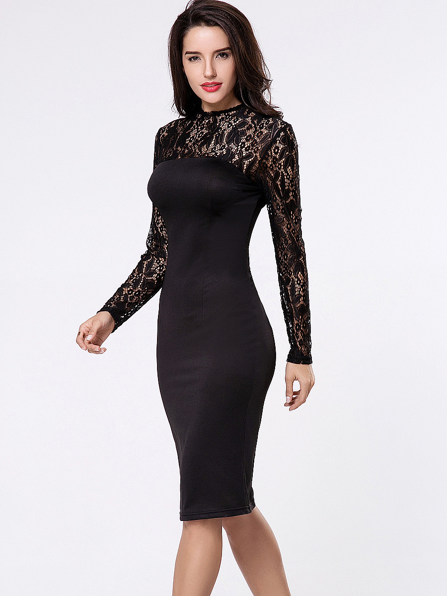 Sexy Black Lace Hollow Out Crew Neck Bodycon Dress