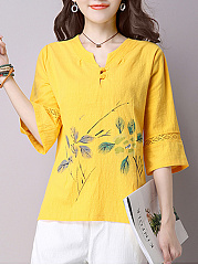 Split Neck Printed Blouse