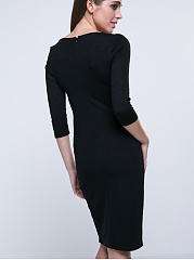 V-Neck Contrast Trim Decorative Button Bodycon Dress